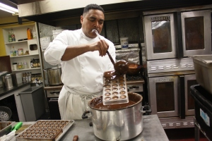 Chef Poole showing how to make magnificent chocolates...