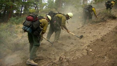 Firefighters working hard to dig a line on the East Zone [Photo Courtesy: inciweb]