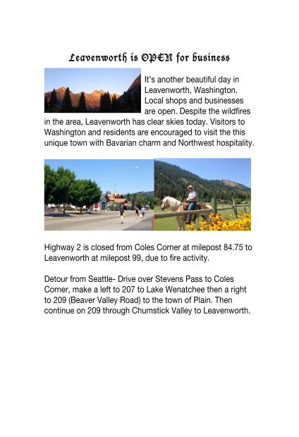 Directions into and out of beautiful Leavenworth, Washington [Announcement via inciweb]
