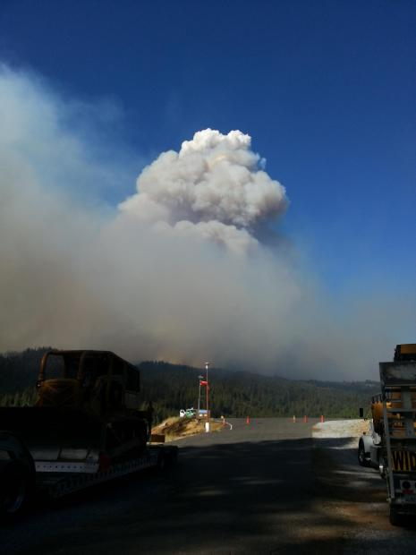 Smoke Column can be seen near Placerville on 9/16