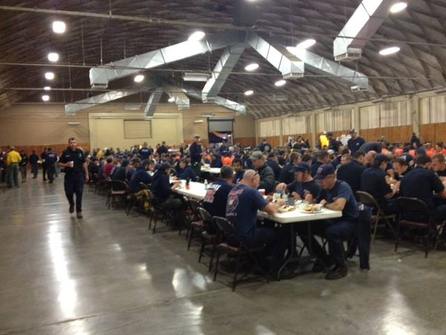 0530 9/20 in the eating area where the day shift is having breakfast before heading out to the fire. [[[ These are your Heroes! ]]] Photo Credit: King Fire IMT