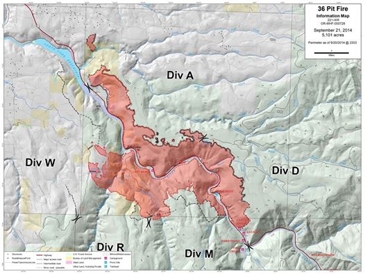 Map of fire area [Photo Credit: 36PitFire IMT]