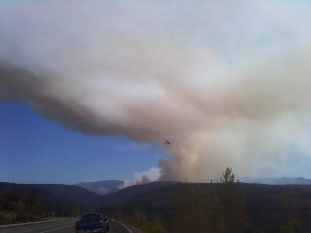 Retardant Plane [very tiny in middle of photo] dropping above 36PitFire [Photo Courtesy: inciweb]