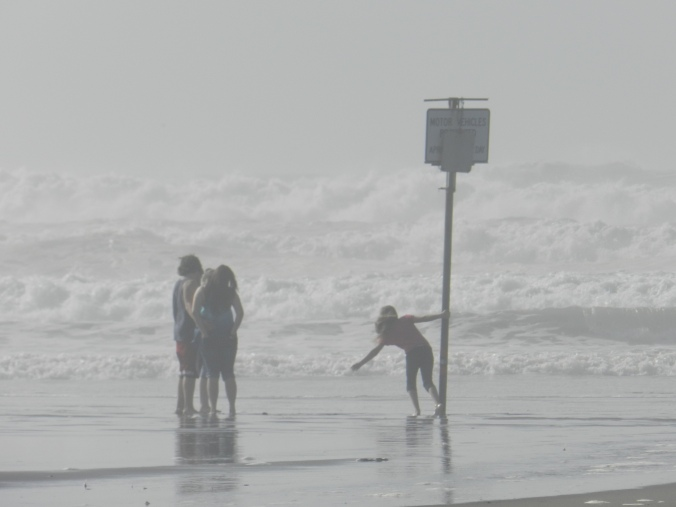 Kids swinging off of a warning sign in the pending surf.