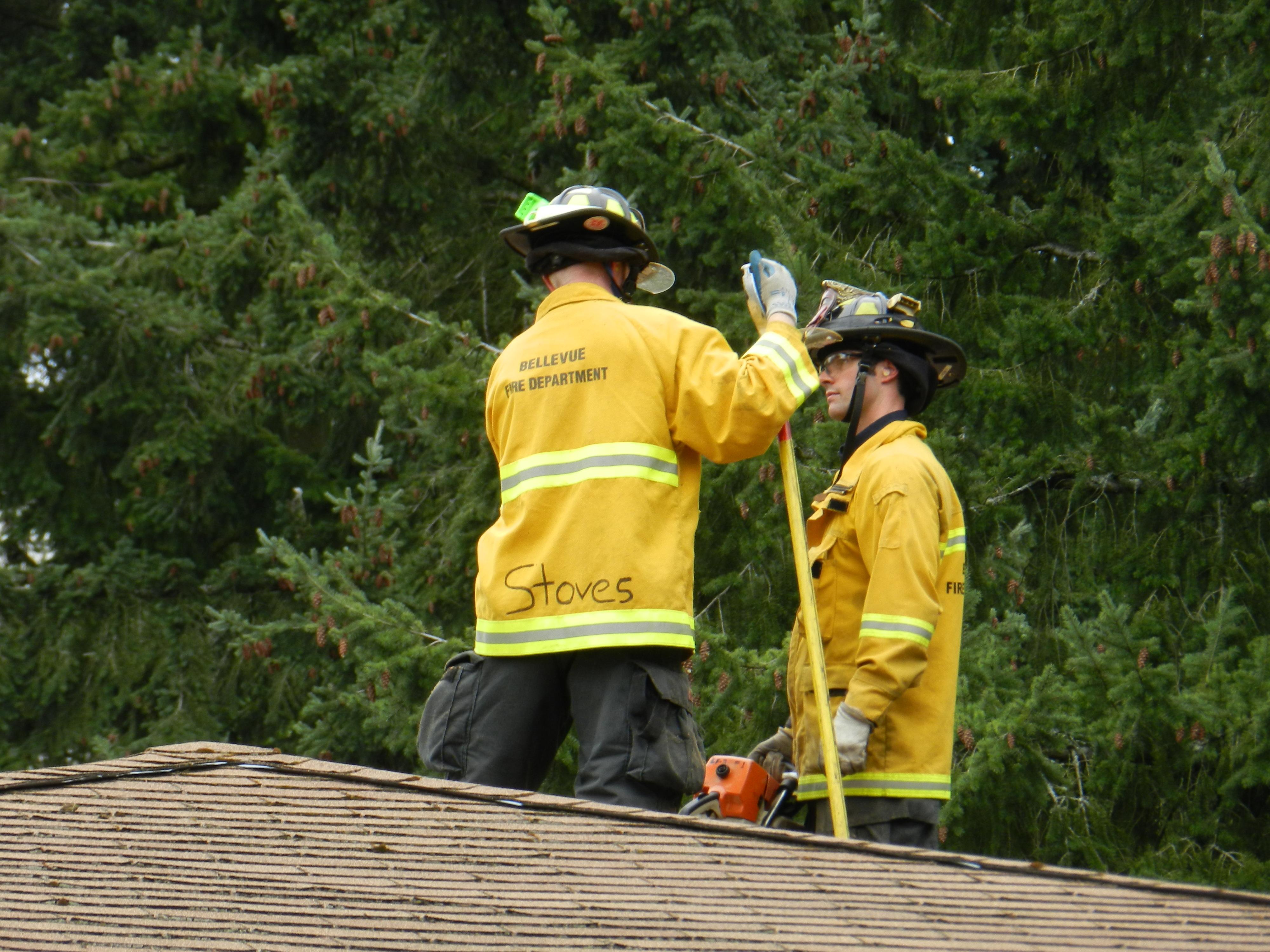 Bellevue Firefighters on Roof 2