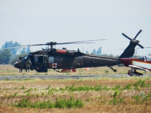 US National Guard's Blackhawk during the Snag Canyon Fire in 2013 [Credit LR Swenson]