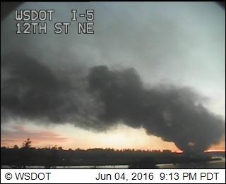 Fire at I-5 / 12th Street. (Credit: WSDOT)